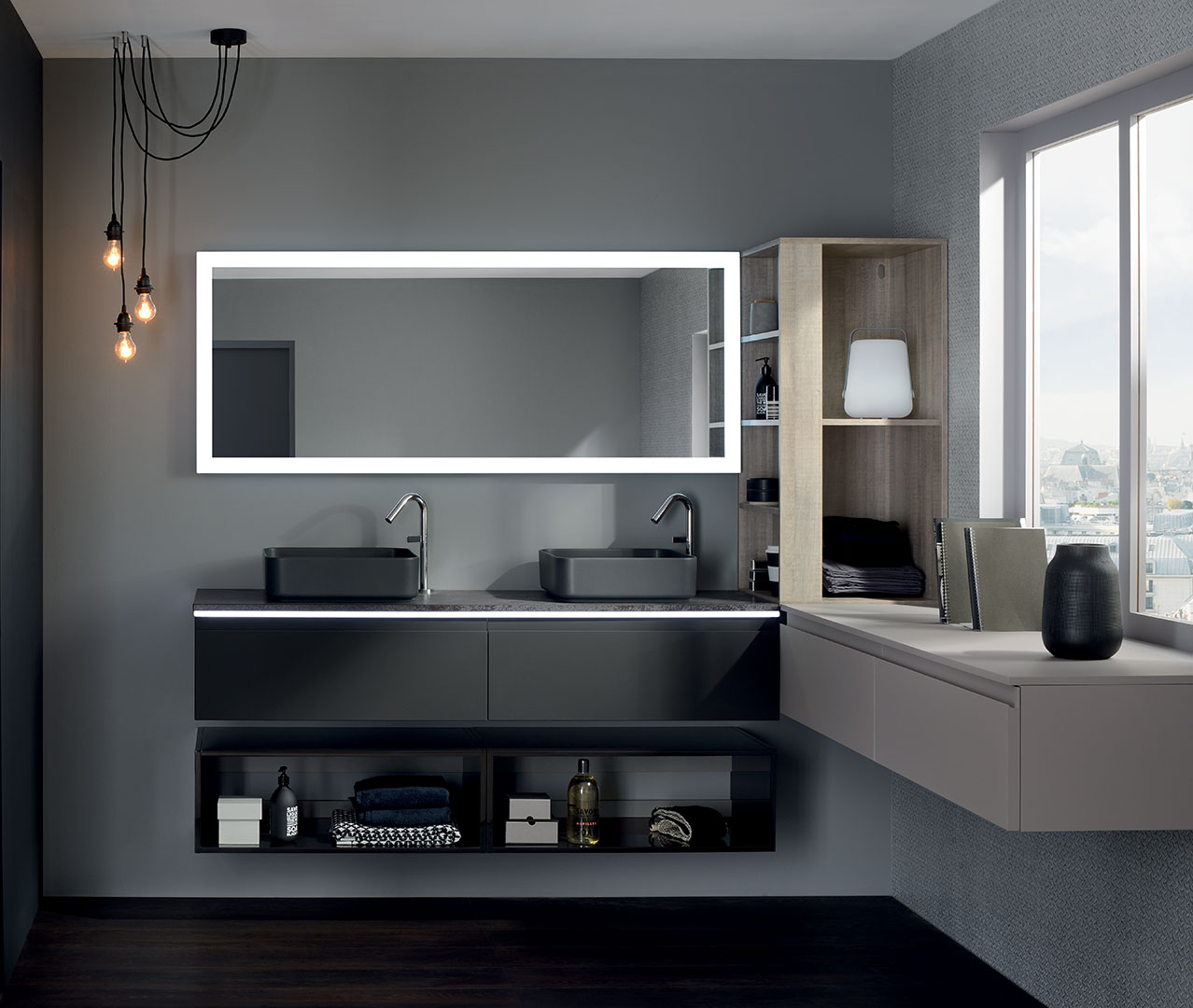 gamme halo meuble salle de bain design sanijura. Black Bedroom Furniture Sets. Home Design Ideas