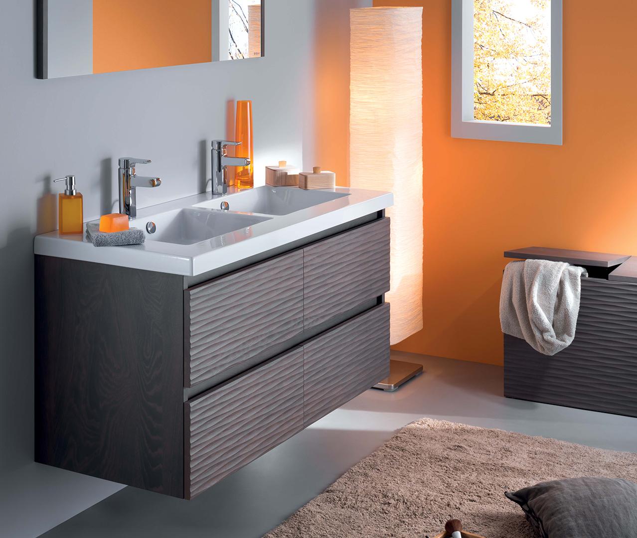 Gamme lignum meuble salle de bain bois sanijura for Salle bain orange