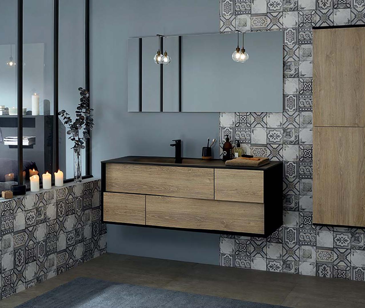 Gamme my lodge meuble salle de bain en bois sanijura - Commode transformee en meuble salle de bain ...