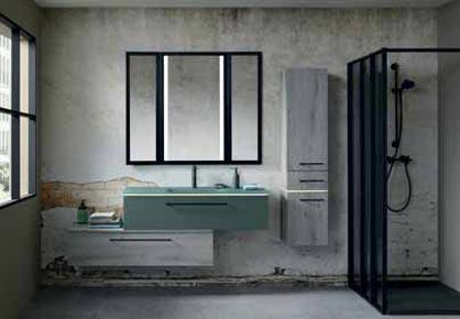 salle de bain bois et rose - Sanijura