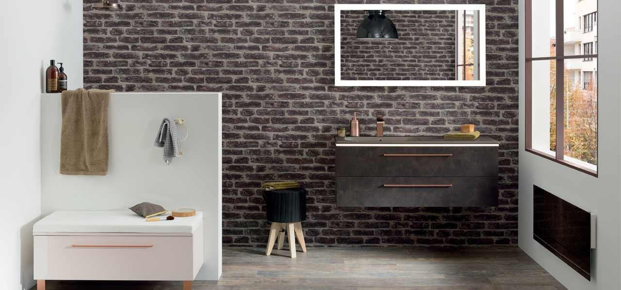 salle de bain lumen décor effet vieux cuir et plan vasque céramique brun sépia - Sanijura