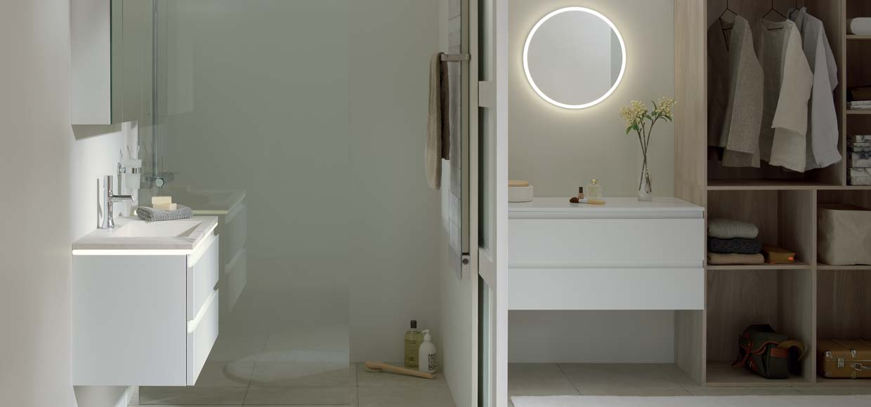 Salle de bain luciole laqué blanc - Sanijura